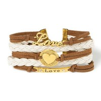 Lots of Love Brown Faux Suede and Ivory Braided Cord Cuff Bracelet | Claire's
