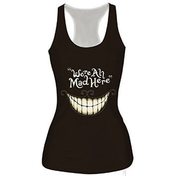 Womens Halloween Were All Mad Here Tank Tops One Size