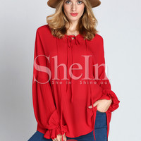 Red Long Sleeve Lace Up Blouse -SheIn(Sheinside)