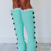 Girly Button Leg Warmers in Mint Green