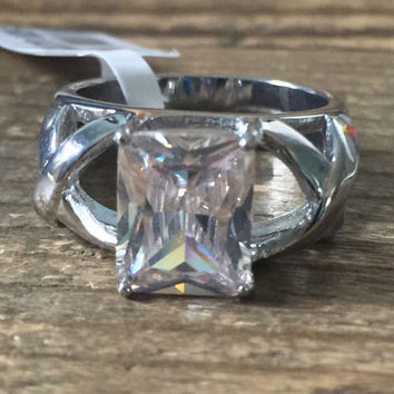 A Perfect 3.3CT Emerald Cut Russian Lab Diamond Engagement Ring