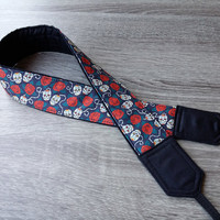 Sugar Skull Camera Strap. Padded  Camera Strap. Boyfriend Gift. Black Red Strap. Photo Accessories