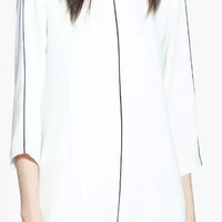 White Sleeve Back Button Shift Dress