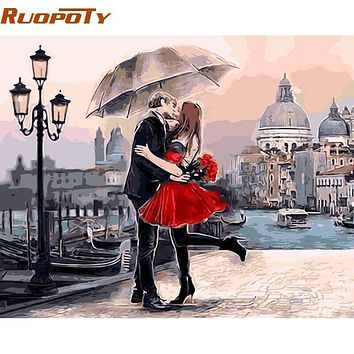 RUOPOTY Romantic Kiss Lover DIY Painting By Numbers Landscape Large Oil Painting Modern Wall Art Picture For Wedding Decoration