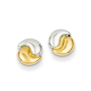 7mm Yin Yang Style Post Earrings in 14k Gold and Rhodium