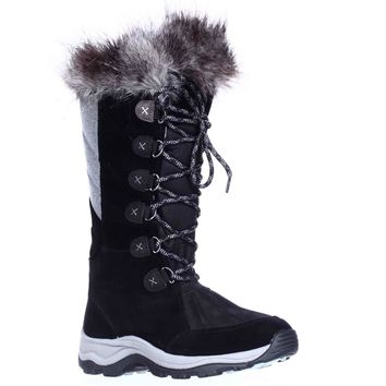 Clarks Wintry Hi Waterproof FLeece Lined Lace Up Winter Boots, Black, 9 US / 40 EU