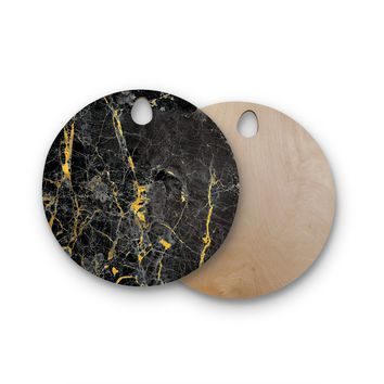 "KESS Original ""Gold Fleck Black Marble"" Digital Abstract Round Wooden Cutting Board"