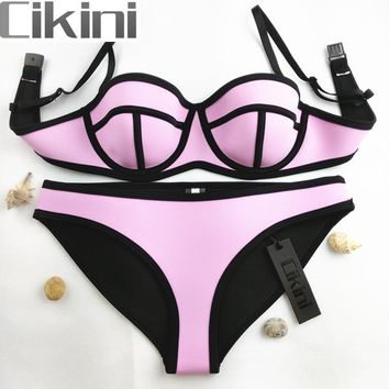 Swimwear Woman Neoprene Material Bikinis Women New Summer 2016 Sexy Swimsuit Bath Suit Bikini set Bathsuit Biquini TA001 Cikini