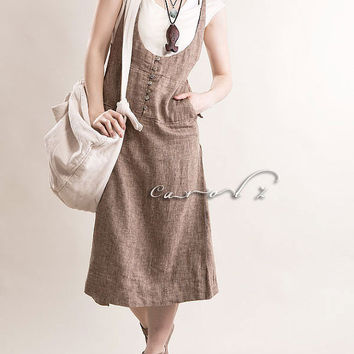 Linen Jumper Dress in Light Mocha Tunic Dress Woman by Concertino