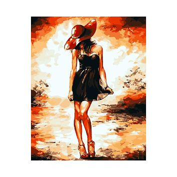 AZQSD Digital Oil Painting By Number Sexy Lady Art Home Decoration Wall Canvas Painting For Living Room No Frame szyh212