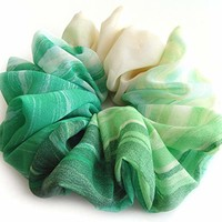 Ivory Green Large Chiffon Scrunchies Stylish Accessories Hair Band Ponytail Holder Teen Girls Women