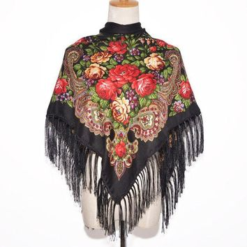 MDIG9GW 2016 New Fashion Women Square Winter Wrap Scarf Luxury Brand Lady Tassel Bandana Shawl Floral Designer Poncho Hot Sale Headband