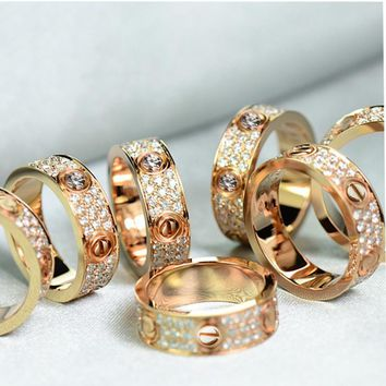 Cartier Trending Ladies Men Simple Three Rows Of Drill Diamond Ring Stars Couple Ring Accessories