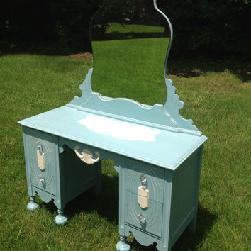 Adorable Antique Vanity/Dressing Table, Blue with White Details