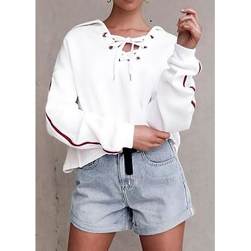 Women Long Sleeve Solid Hooded Lace Up Top