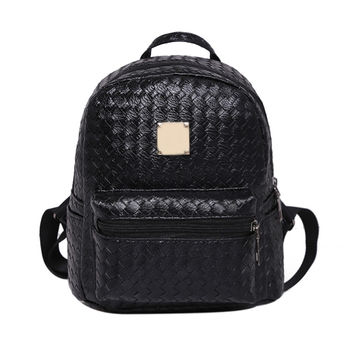 2016 New Europe Knitting PU Leather Women Backpack Preppy Style Fashion Rivet Schoolbag  for Teenager Girl Small Travel Backpack