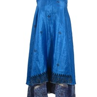 Vintage Silk Wrap Dress Skirt Indian Double Layer Reversible Blue Maxi Skirts