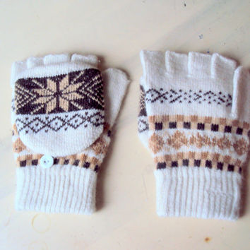 SALE! Icelandic Wool Alpaca Convertible Mittens Scandinavian Nordic Fair Isle Hand Knitted Gloves Gift For Her Christmas Clearance Sale!