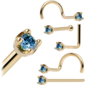 Solid 14KT Yellow Gold (September) 1.5mm Genuine Blue Diamond Nose Ring