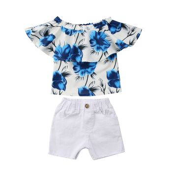 Toddler Kids Baby Girls Off Shoulder Blouses Summer Jeans Shorts Outfit 2018 Children Girl Clothes Set