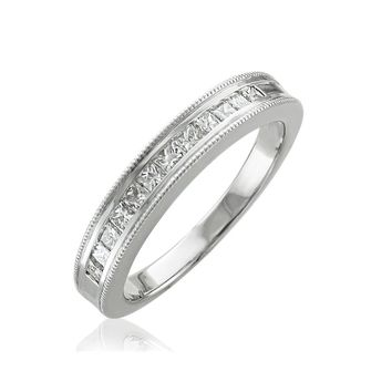 IGI CERTIFIED | 10K Gold Princess-Cut Channel Set Wedding/Anniversary Diamond 0.50 carat Band Ring (White)