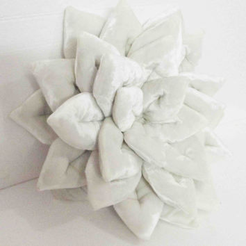 """rich white Lotus  velvet filled cushion in the size 16""""x16"""""""