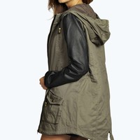 Milly Faux Leather Sleeve Parka Jacket