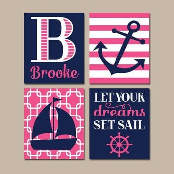 Girl NAUTICAL Wall Art, NAUTICAL Nursery Canvas or Prints Baby Girl Nursery Decor, Navy Pink, Sailboat Anchor, Dreams Set Sail, Set of 4