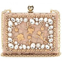 CRYSTAL-EMBELLISHED LACE BOX CLUTCH