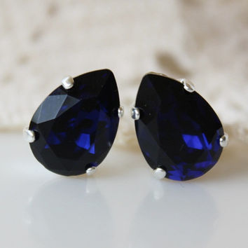 NEW: Violet, Blue Stud Earrings, Dark Indigo, Swarovski Crystal Earrings, Blue Pear Post, Bridesmaid Jewellery, Dark Blue Teardrop Earrings