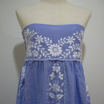 Embroidered Mexican Sundress Strapless in Blue by chokethai