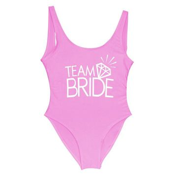Team BRIDE - Women's Sexy Sporty One-Piece Swimsuit - Bride & Bridesmaid Beach Wear