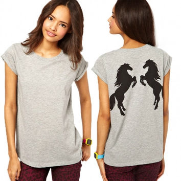 European Style Back Double Standed Horse Print Fashion Loose O-Neck All-match Spring Summer Women T-shirts 4 Sizes
