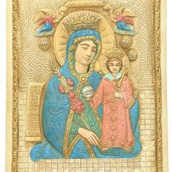 Mary and Jesus Icon with Miraculous Cures from Rose Petals Wall Relief 9H