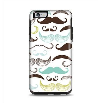 The Fashion Mustache Variety On White Apple iPhone 6 Plus Otterbox Symmetry Case Skin Set