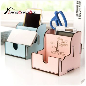Cute Wooden Desk Storage Box Holder Jewelry Cosmetic Stationery Organizer Wooden Storage Box
