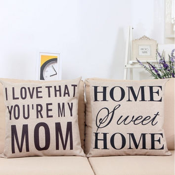Letter Cushion Cover Mother's Day Gift Pillow Cover I love you Mom Mosaic Style Sofa Cushion Cover Home Decorative Pillow Cover