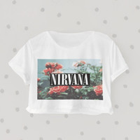 Nirvana Floral Heaven printed Midriff Cropped Blouse. Street-Style Fashion - teenage - crop - Teen Girl - Casual wear