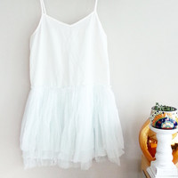 White Tulle Tutu Top~  Flowy Tank Top~ White Shirt Women~ Medium~ Babydoll Top~ Bohemian Clothing Canada~ Boho Clothing~ Summer Clothes