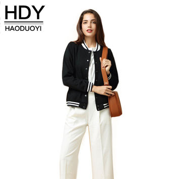 HDY Haoduoyi 2016 Autumn Fashion Women 3 Colors Velvet Bomber Jackets Long Sleeve O- neck Buttons Down Bomber Jacket