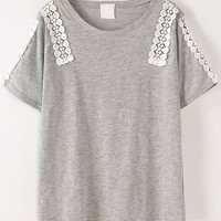 Grey Short Sleeve Lace Detailed Shirt