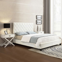 TRIBECCA HOME Sophie White Bonded Leather Tufted Full-sized Upholstered Bed
