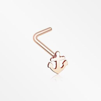 Rose Gold Dainty Anchor Icon L-Shaped Nose Ring