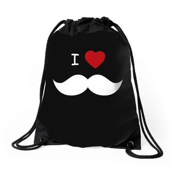 I Love Mustache Drawstring Bags
