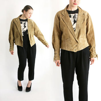 Vintage 80's 90's Sand Beige Real Suede Moto Cropped Jacket, Brown Leather Western Jacket