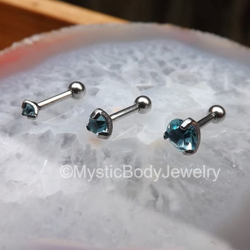 "16g Tragus Helix Earring Set 1/4"" Silver Conch Stud Blue Gemstone Labret Triple Forward Helix Studs Aqua Gems Body Jewelry Piercing Labrets"