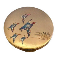 STRATTON Duck Compact Vintage Mallard Ducks Flying 50s Vanity Case Made in England Bird Animal Gold Teal Green Mallards Reeds Powder Compact