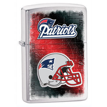 Personalized NFL Brushed Chrome Zippo Lighter - New England Patriots