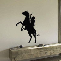 WALL DECAL VINYL STICKER ANIMAL PEOPLE COWBOY RIDING HORSE DECOR SB949