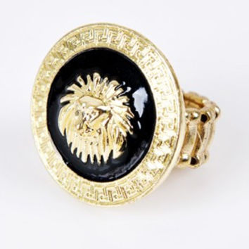 11.11 Rihanna Round Lion Head Medallion Gold Tone Statement Stretch Ring Celebrity Style